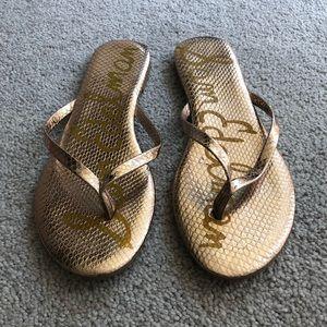 Sam Edelman rose gold metallic sandals flip flops